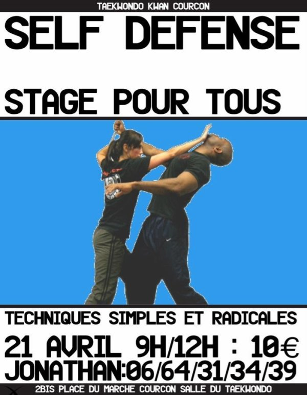 Stage self defense 21 avril / 9h >12h. 10�